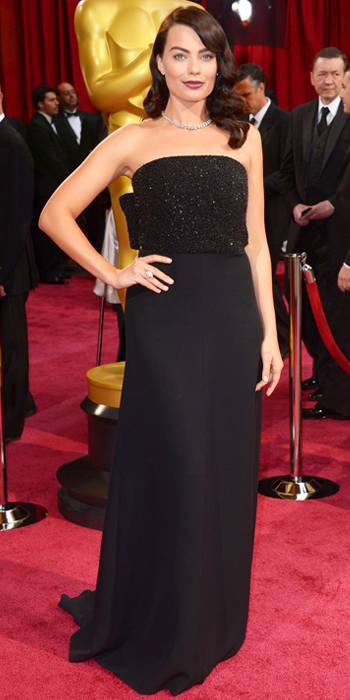 margot robbie in saint laurent at the oscars